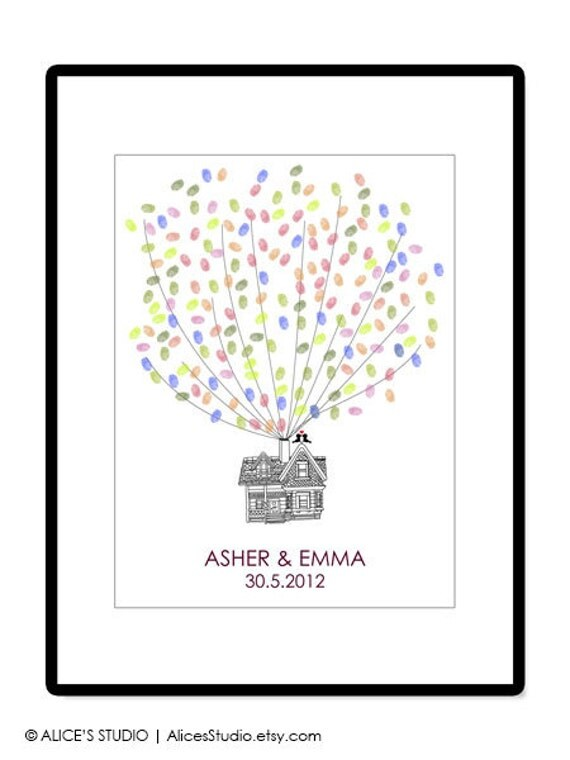 Wedding Guest Book Alternative - Personalized Flying Up House Guestbook Poster - Thumbprint Guest Book - Free Gift with Purchase