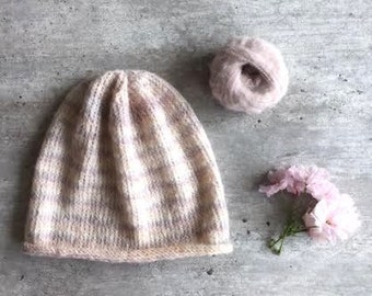 Knit Hat, Knit Comfy Hat, Pink Knit Hat, Pink Beanie, Knitted Beanie, Stripe Beanie, Striped Hat, Womens Knit Hat, Girls Knit Hat, Comfy Hat