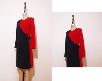 1980s Roberta Di Camerino dress | Vintage 80s red blue faux wrap dress