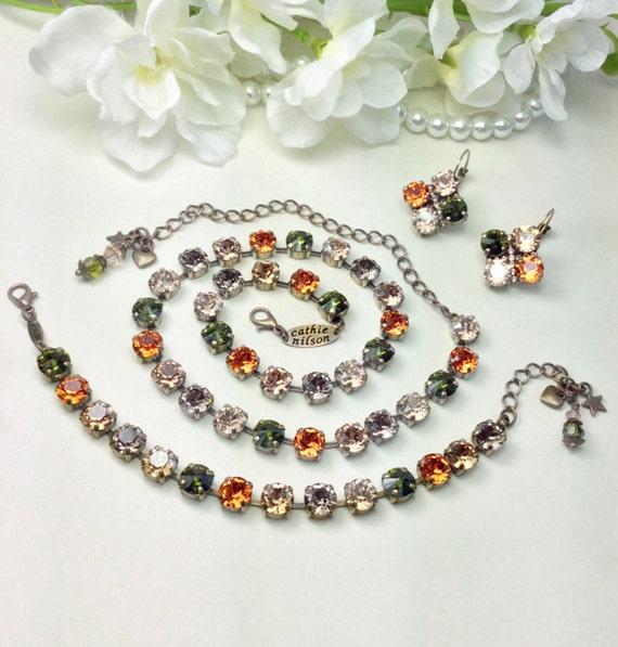 "Swarovski Crystal 8.5mm Necklace, Bracelet & Earrings  - Fall 2017 - Designer Inspired  ""Harvest Moon"" - New Fall Shades - FREE SHIPPING"