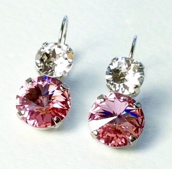 Swarovski Crystal 12MM/8.5mm Drop Earrings - Lt. Rose & Crystal  - OR Choose Custom Colors - Classic Drama FREE SHIPPING