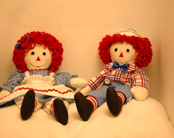 Pair of 20 inch Raggedy Ann and Andy handmade dolls, Raggedy Ann and Andy 20 inch dolls, handmade