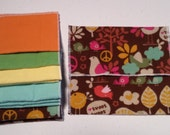 Flannel Travel Pack Tissues / Baby Wipes - 12 Single Ply - Washable - Reusable - Peace, Birds, Brown, Blue, Yellow - Dees Transformations