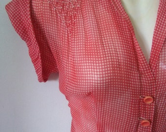Vintage fifties sheer red &white dotted dress sml