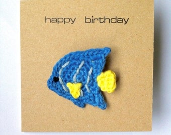 Angelfish Brooch Greetings Card / Birthday Badge Card / Fish Coral Reef Aquarium Birthday Card / Eco-friendly