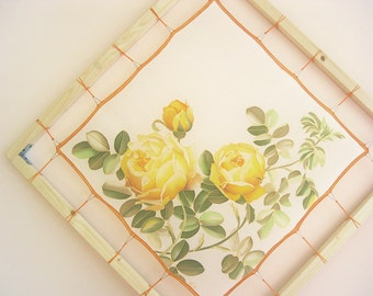 Small silk scarf hand painted yellow roses Spring women accessory Botanical Home decor - made TO OREDER