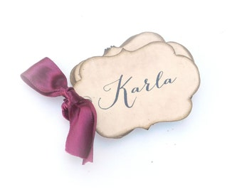 Custom Name Tags With Your Choice of Ribbon Color, Personalized Gift Tags, Set of 10