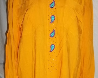 """Women Blouse """"Cuff ll"""" By Marcy 'N Me Vintage Yellow Shirt Sequin Accent Vintage Shirt Vintage Blouse Free Shipping"""