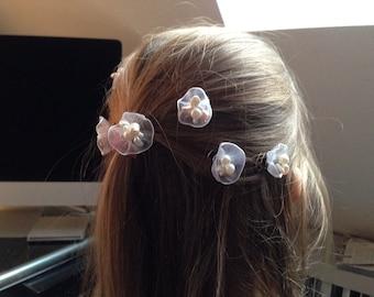Romantic Curlies, wedding, Bridal hair jewelry, hair jewelry, flower girl, Pearl wedding