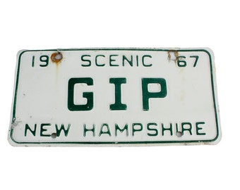 Vintage New Hampshire License Plate 1967 'GIP' // Vintage New Hampshire License Scenic Tag 1967 // Vintage White and Green License Plate