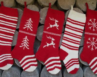 Set of 5 Christmas Stocking Personalized Hand knit Wool Stripes CranberryRed White with Tree Deer Snowflakes ornaments  Christmas decoration