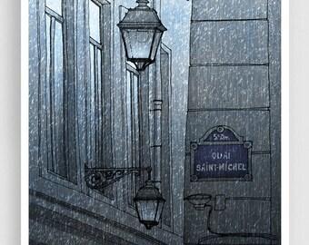 Quai Saint Michel (grey version) - Paris illustration Art Illustration Print Poster Paris decor Home decor Facade Windows Paris Architecture