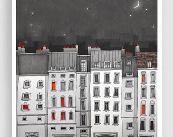 Paris Art Print - You are not alone (grey) - Paris Art Print Houses Illustration Home decor Nursery art Kids wall art Paris Facade Poster