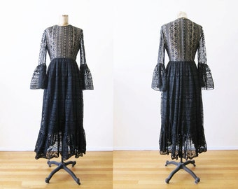 1960s Maxi Dress / Black Lace Bohemian Maxi Dress / Bell Sleeve Dress / Joan Leslie