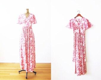70s Pink Dress / 1970s Floral Maxi Dress / Flutter Sleeve / Bohemian Dress / Long Sundress Small