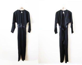 Womens Jumpsuit / Black Jumpsuit / 80s Jumpsuit / Backless / Beaded Belt