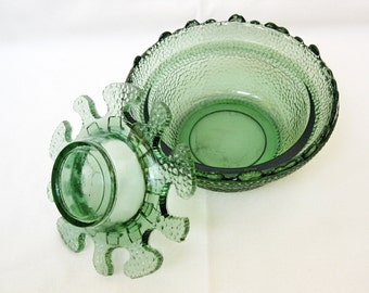 Vintage Pressed glass bowl Emerald green glass Sugar Candy dish Art deco 40s Very rare!!