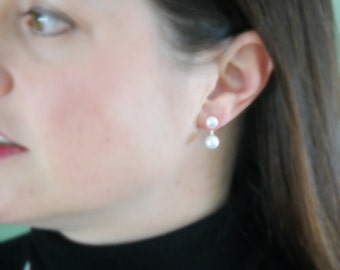 Pearl stud ear jackets - sterling silver and ivory pearl earrings - double pearl - double sided earring - front back reverse - sublime