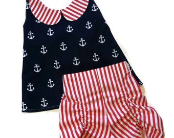 Rizzo Retro Shorts and Halter Top Nautical Anchor Red White Blue Red Stripes Navyl Baby Toddler Girls