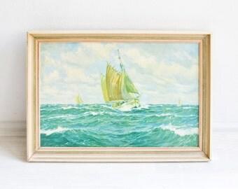 Vintage painting, sea print, sailing print, sailing boat painting, wall hanging 60s, 60s art
