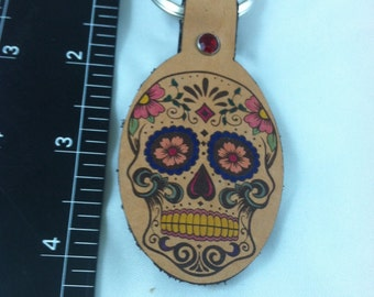 Sugar skull leather key ring day of the dead sku C