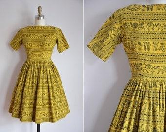 50s Circle of Life Dress / vintage 1950s novelty dress/ vintage corduroy full skirt dress