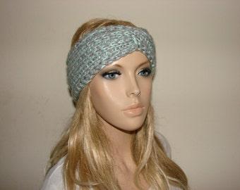 mint grey knit turban headband, twisted headband, bohohead wrap, woman girl gift, ski headband, hair wrap