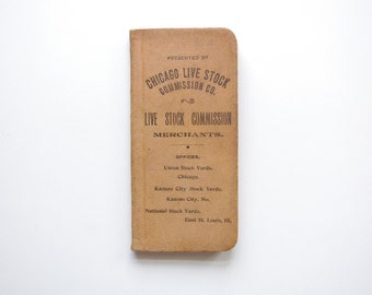 Vintage Chicago Live Stock Commission Leather Pocket Ledger - 1899 - Pristine Condition, Clean Inside