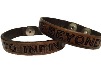 Matching Bracelets For Couples, Personalized Leather Bracelet, Handstamped Couples Bracelet, to infinity and beyond bracelet