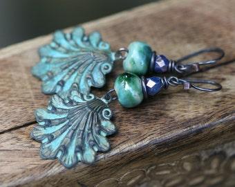Rustic Boho Tribal 'Shell' earrings n225- verdigris patina shell . lead and nickel free metal . green patina brass . ocean beach  ceramic
