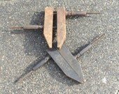 Rare 1890's Pair, 2 Antique Bass Bros. Wood Working Clamps, Mechanical Release Cast Iron Handles
