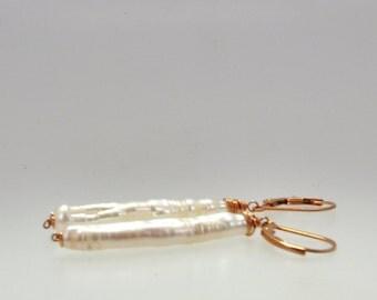 Stick pearl earrings, simple pearl dangle earrings, rose gold dangle earings, rose gold freshwater pearls, long drop earrings
