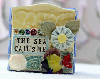 The SEA CALLS ME, mosaic wall art, gift