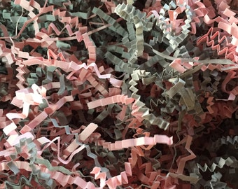 Crinkle Cut Paper Shred- Basket Filler- Grey & Pink Mix