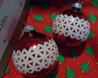 Vintage pair of Rauch red and white flocked Christmas tree ornament