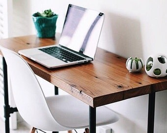 Industrial Reclaimed Slim Writing Table   Desk   Work Station