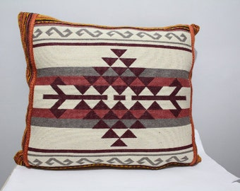 Traditional Turkish Kilim Pillow Cover, Aztec Pillow Case, Wowen Kilim Pillow, Floral Pillow Cover, Two Sided Pillow Case