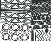 Black & White Tribal Print Cotton Flannel Fabric, by the piece