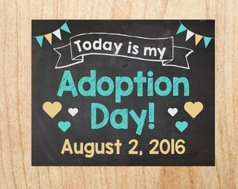 Adoption Announcement sign custom personalized chalkboard adoption day poster