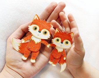 Articulated paper doll with moving eyes puppet kraft Fox