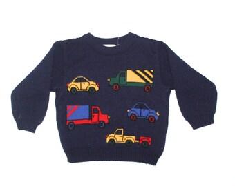 TRUCKS CARS SWEATER - Vintage Little Boy - Knit Sweater - Transportation - 3T