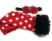 Minnie Mouse Leg Warmers, Red Polka Dot Leg Warmers with Black Ruffle with Matching Headband, Infant, Baby, Toddler, Preteen, Arm Warmers