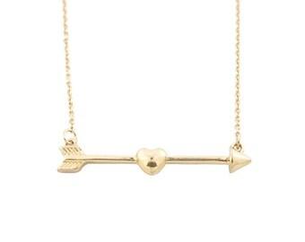 Simple Short Chain Gold-tone Cupid Arrow Pendant Necklace,B2