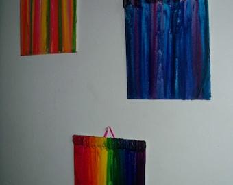 "Handmade Melted Crayon Art Mini Canvas w/ Hanger 8x10"""