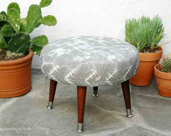 Gray Ottoman Hand Dyed Shibori Fabric | Upholstered Round Stool Tribal Pattern Mid Century Modern Ottoman Gray Footstool Bohemian Furniture
