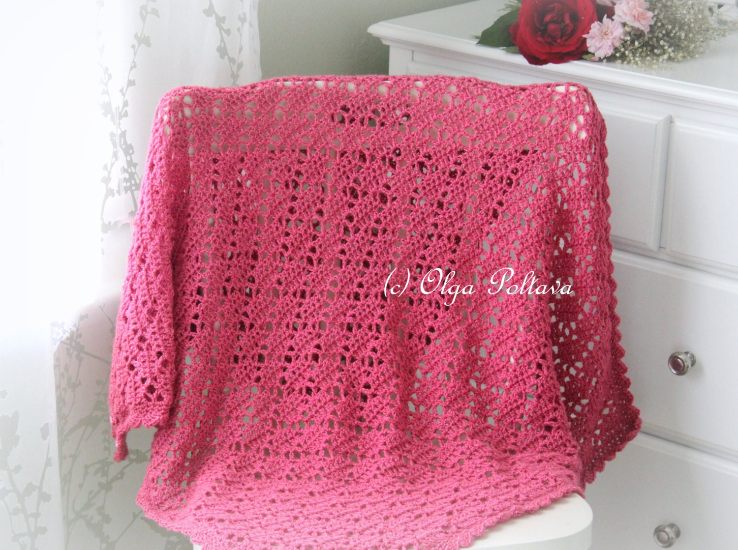Crochet Baby Blanket Lace Pattern : Bright Pink Lace Crochet Baby Blanket Pattern Baby Afghan