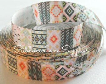 """1"""" Ribbon by the yard-Southwest Multi color Coral Aqua Aztec printed grosgrain Ribbon-craft supplies by Ribbon Lane Supplies on Etsy"""