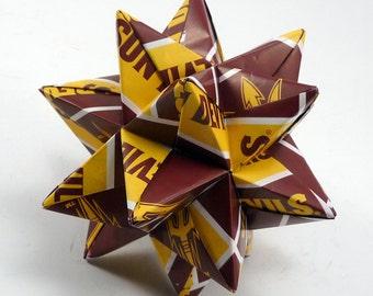 Medium Origami Star Made From Licensed Arizona Sundevils Paper, Arizona State Ornament, Sundevils Decoration