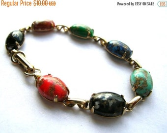 On Sale Vintage Glass Stone Bracelet - Colorful Glass Stone Bracelet - Vintage Bracelet
