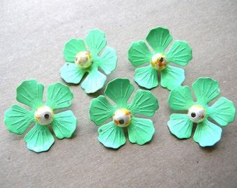 5 Enamel Flowers - Green Enamel Flower - Wedding Bouquet Supplies - Metal Flower Lot - Craft Supplies - DIY